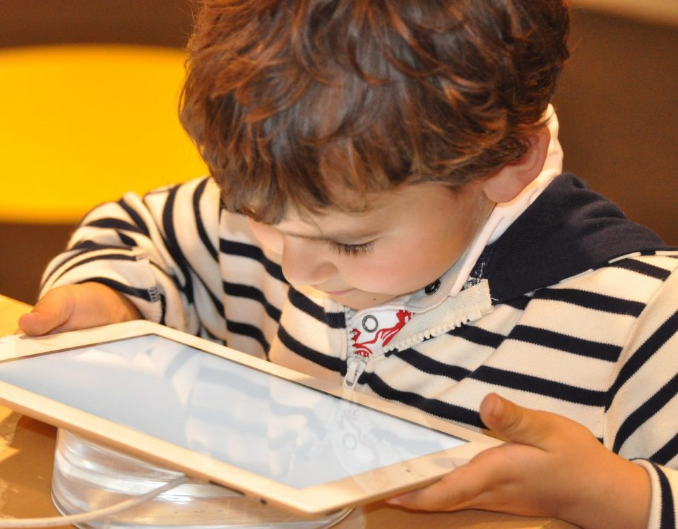screen time child on a tablet