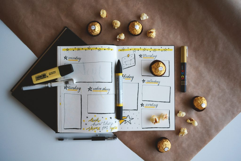 an open bullet journal on a week to view example