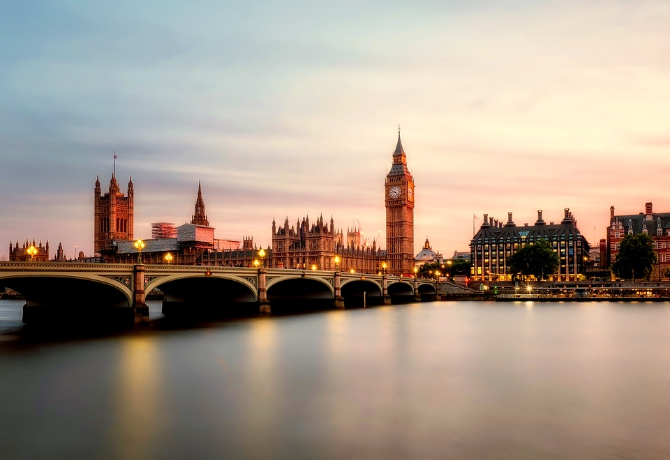 London shot at sunset with big ben the thames and bridge