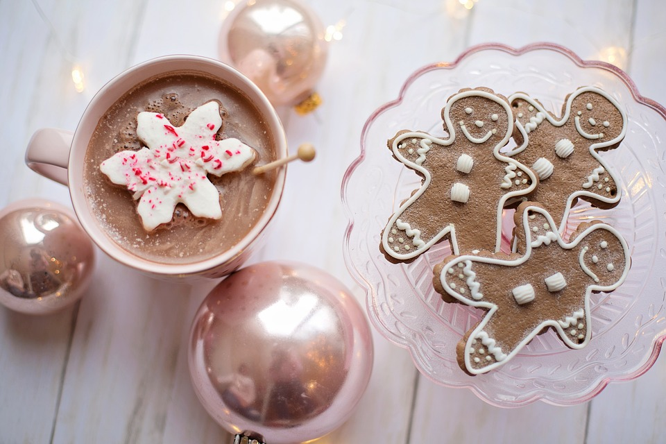pink baubles mug of hot chocolate and gingerbread men
