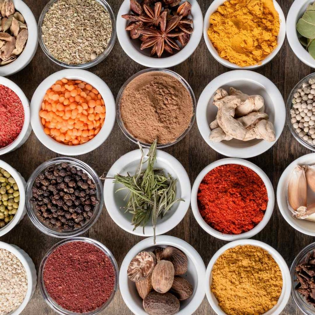 a selection of spices in bowls