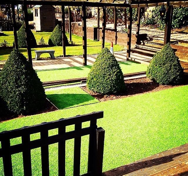 Artificial grass covering large landscape