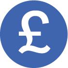 Blue and white pound symbol icon