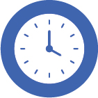 Blue and white clock displaying 4 o'clock