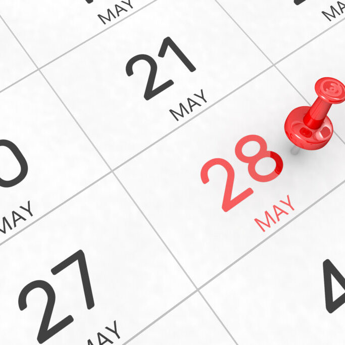 3d,Rendering,Of,Important,Days,Concept.,May,28th.,Day,28