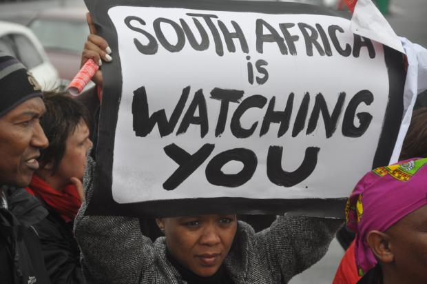 TVIEC march to the SABC - 4 June 2009 (Picture: Marc Schwinges)