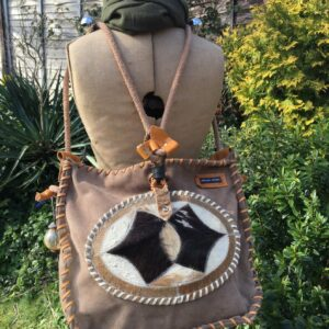 Suede Leather Reversible Crossbody Shoulder Backpack Leather Laced
