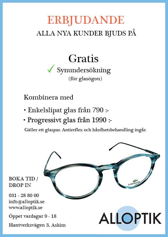 Gratis synundersökning. Kombinera med Enkelslipade glas från 790 kr och progressiva glas från 1990 kr