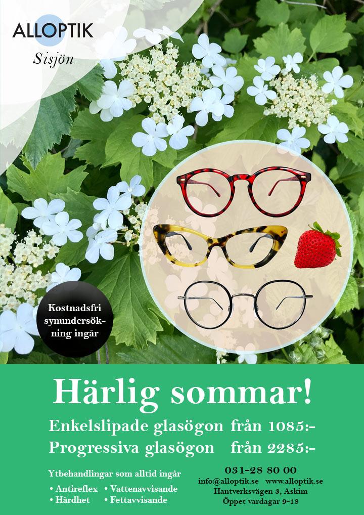 Härlig sommar! Gratis synundersökning samt progressiva och enkelslipade glasögon till bra priser