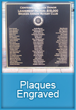 Plaques engraved