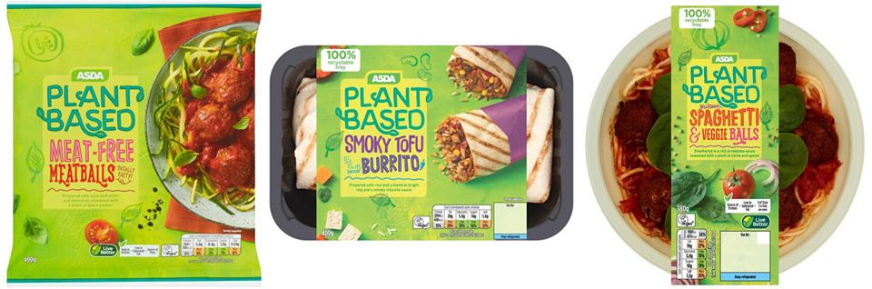 Asda plant based food packaging design