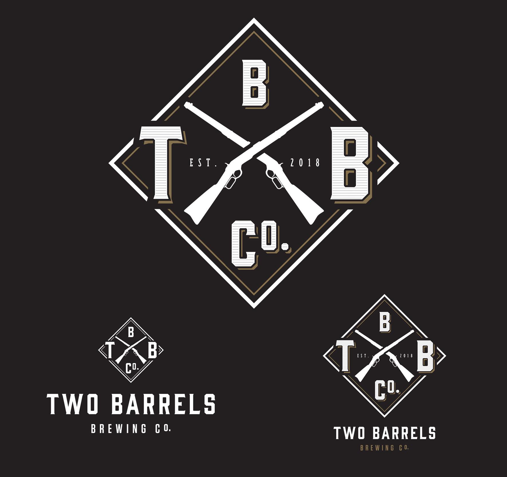 Two Barrels logo and branding
