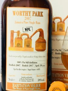 Habitation Velier Worthy Park 2007 WPL Rum Review by the fat rum pirate