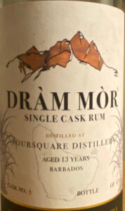 Dràm Mòr Single Cask Rum Foursquare Distillery Aged 13 Years rum review by the fat rum pirate