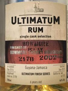 Ultimatum Rum Guyana-Jamaica 6 Years Old Bowmore Finish Rum Review by the fat rum pirate