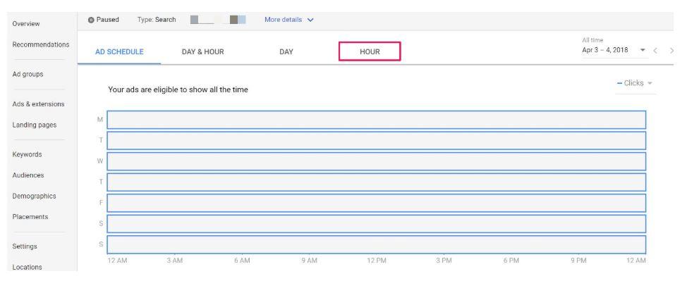 ad schedule hour