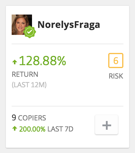A standard trader stats card from Etoro - High figures might indicate that Etoro is a scam