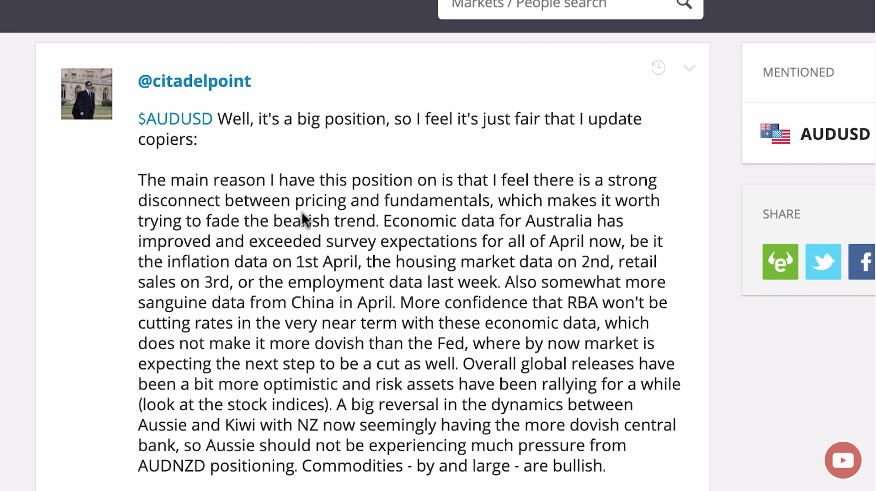 A trader's post about the AUD/USD trade in question