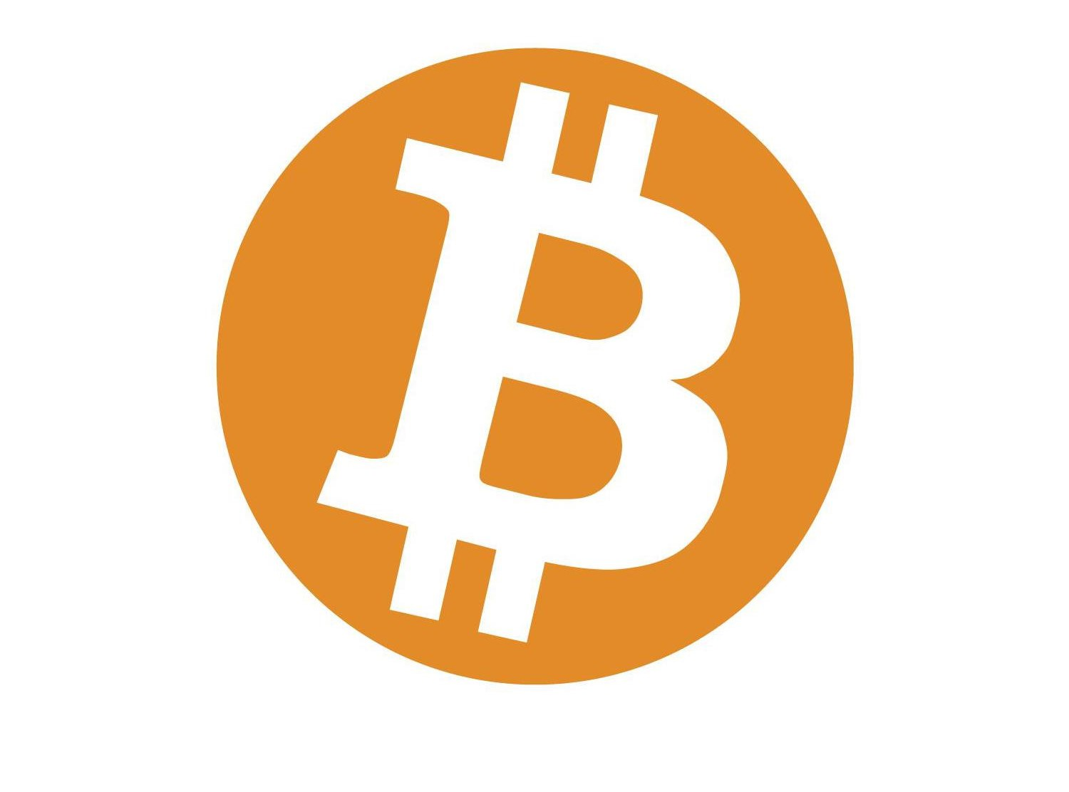 The Bitcoin Logo - orange with B sign with lines through it
