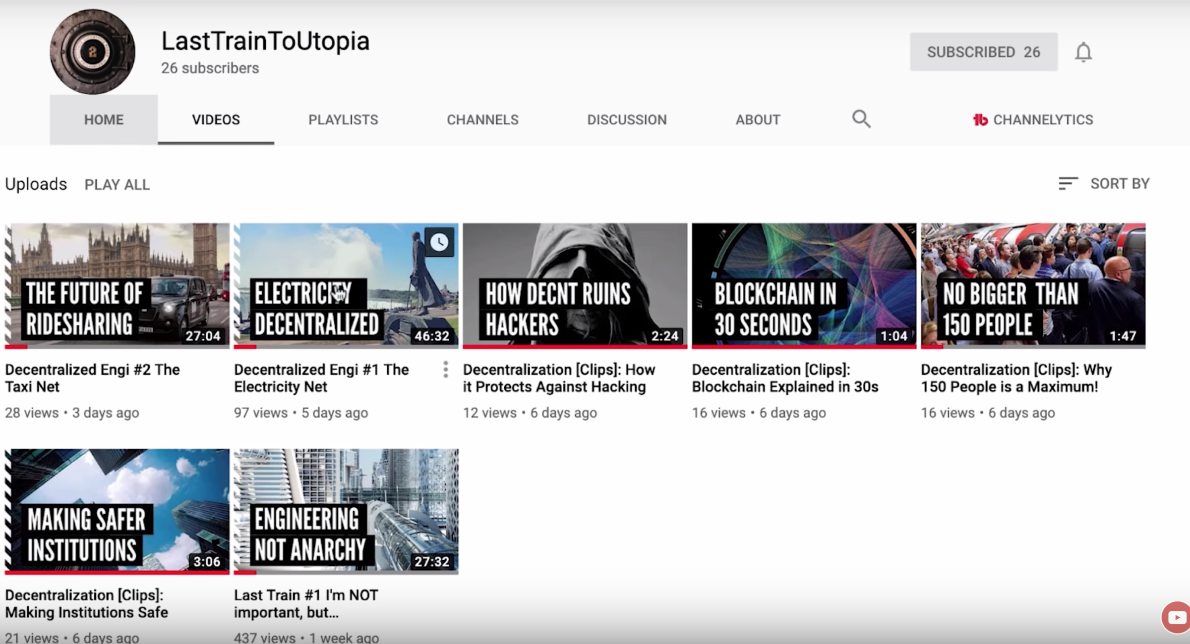 Screenshot of my brother's youtube channel - last train to utopia