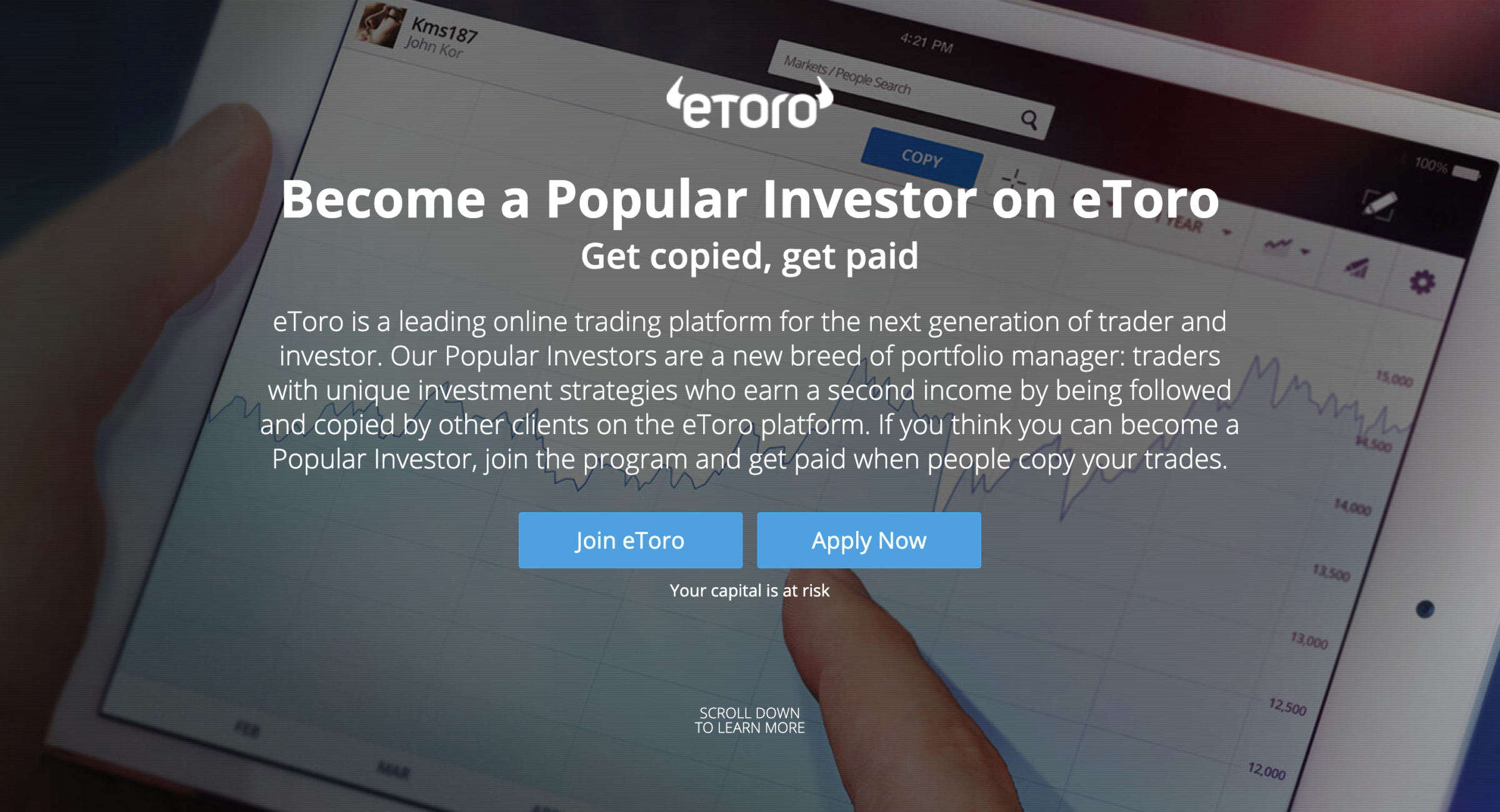 The Signup Section at the top of eToro's Popular Investor page. A button says 'Apply Now'