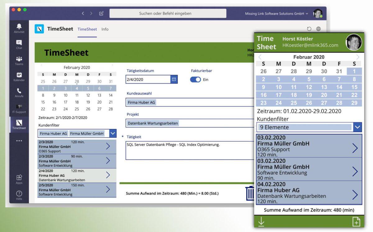 Ansicht der TimeSheet App auf mobile und Desktop