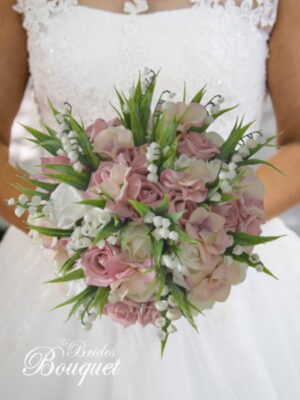 faux rose lily of the valley wedding bouquets dusty pink hydrangea dusky pink silk flowers