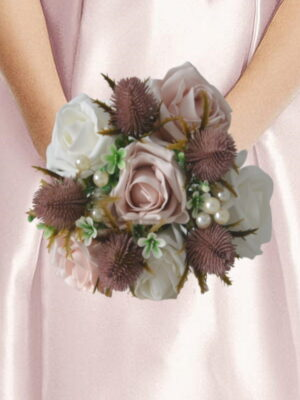 pink thistle wedding bouquet artificial bridal flowers