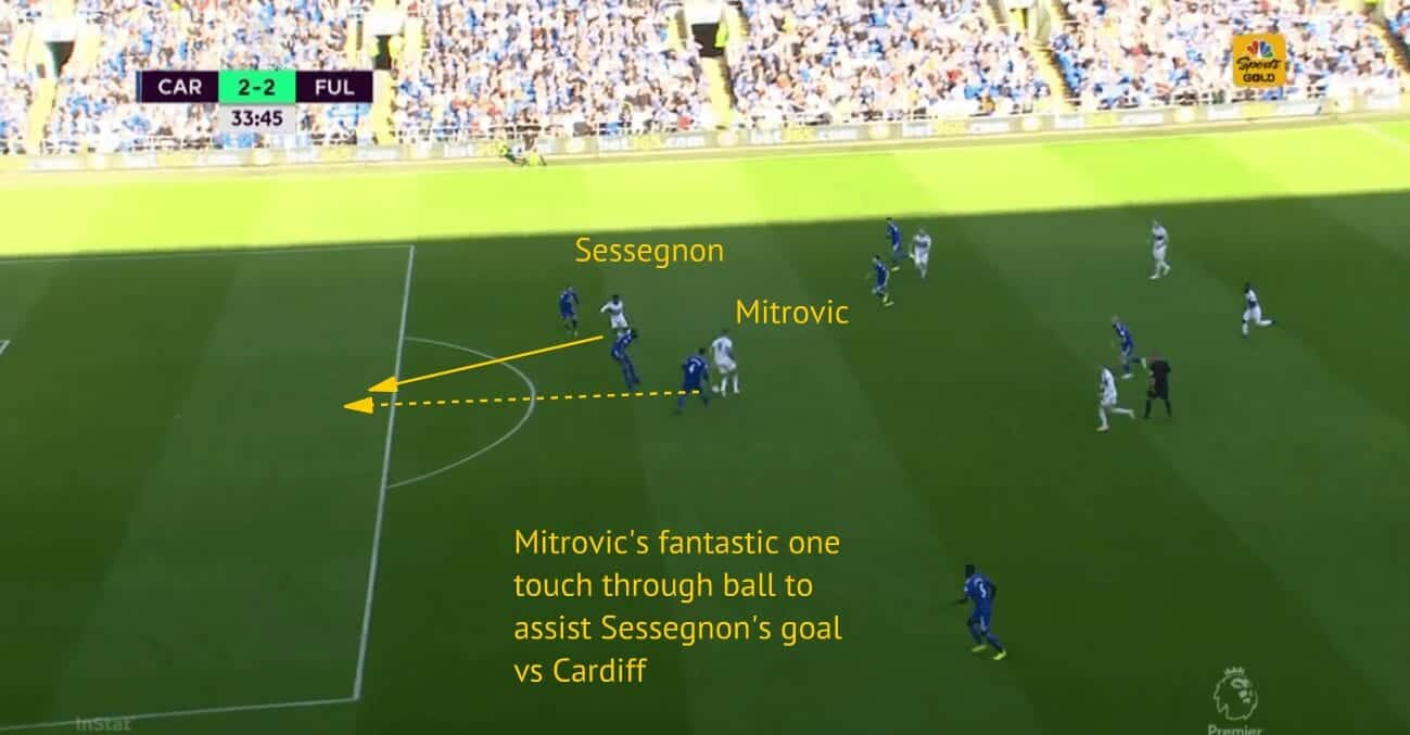 Mitrovic 's deft through ball assist for Sessegnon