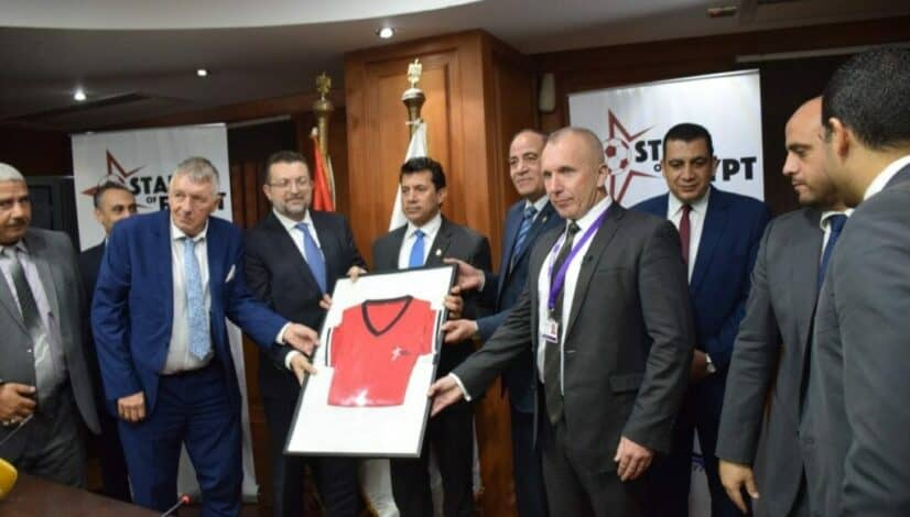 Pleased to be working with the Egyptian Government in helping create a programme and network of development centres with the intention of finding upcoming talent within the region. Pictured co-founder of the PFSA David Hobson and Head Tutor Dean Whitehouse with Egypt's Sports Minister.