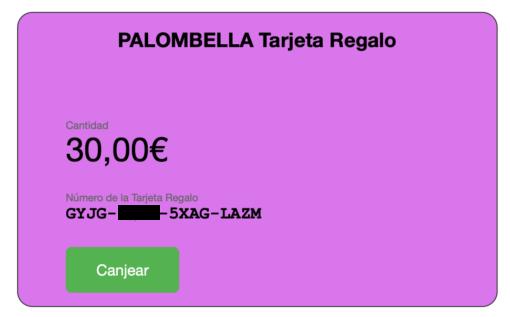 Tarjeta Regalo Palombella