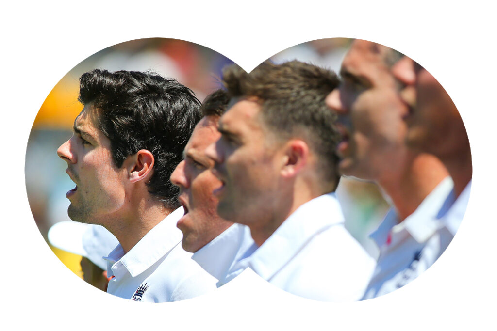 England captain Alastair Cook (L) sings the national anthem before play on day one of the first Ashes cricket Test match between England and Australia at the Gabba Cricket Ground in Brisbane on November 21, 2013. AFP PHOTO / Patrick Hamilton IMAGE STRICTLY RESTRICTED TO EDITORIAL USE - STRICTLY NO COMMERCIAL USE (Photo credit should read PATRICK HAMILTON/AFP via Getty Images)