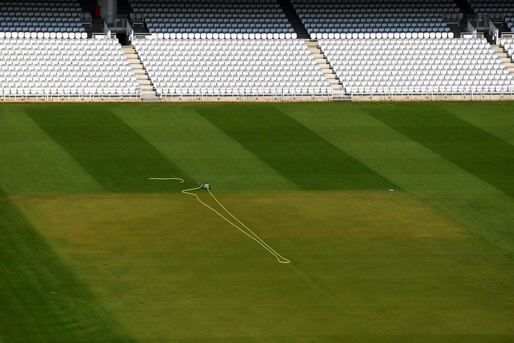 A detailed view of the square at Lord's Cricket Ground
