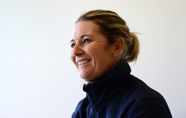 Former England Captain and now ICC Women's World Cup Ambassador Charlotte Edwards looks on ahead of the Royal London One-Day Cup match between Somerset and Kent at The Cooper Associates County Ground on May 2, 2017 in Taunton, England. (Photo by Harry Trump/Getty Images)