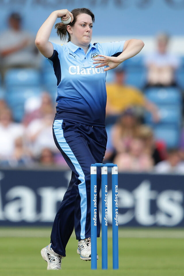 Katie Levick of Yorkshire bowls during the inaugural Kia Super League women's cricket match between Yorkshire Diamonds and Loughborough Lightning at Headingley on July 30, 2016 in Leeds, England. (Photo by Daniel Smith/Getty Images)