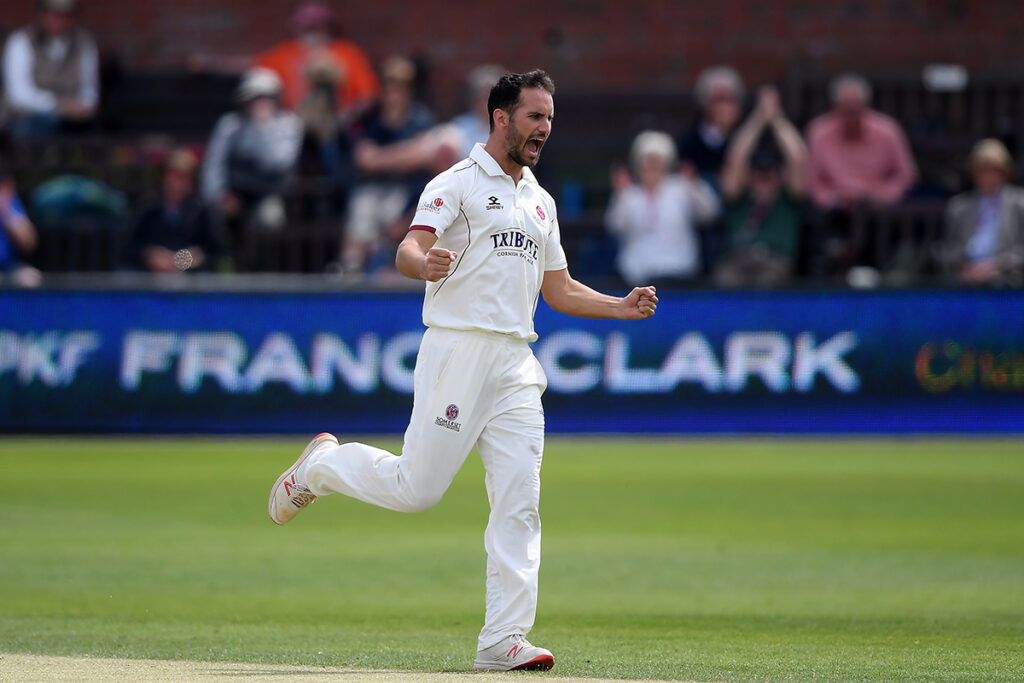 Lewis Gregory of Somerset celebrates the wicket of Mark Stoneman of Surrey during Day Three of the Specsavers County Championship match between Somerset and Surrey at The Cooper Associates County Ground on May 16, 2019 in Taunton, England. (Photo by Alex Davidson/Getty Images)