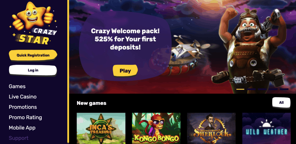 crazy star casino review new