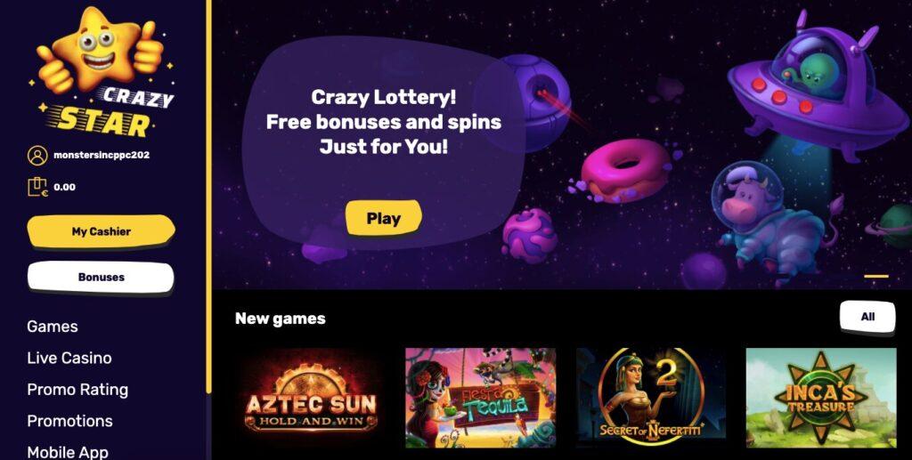 crazy star casino welcome