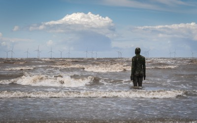 "Installation ""Another Place"" by Antony Gormley, Crosby Beach near Liverpool, England"