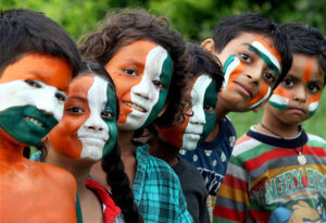 Kids in Indian flag paint in face