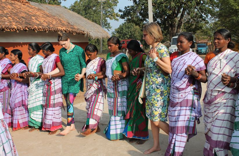 Dancing with the young Santhali Women of the Village Bathur