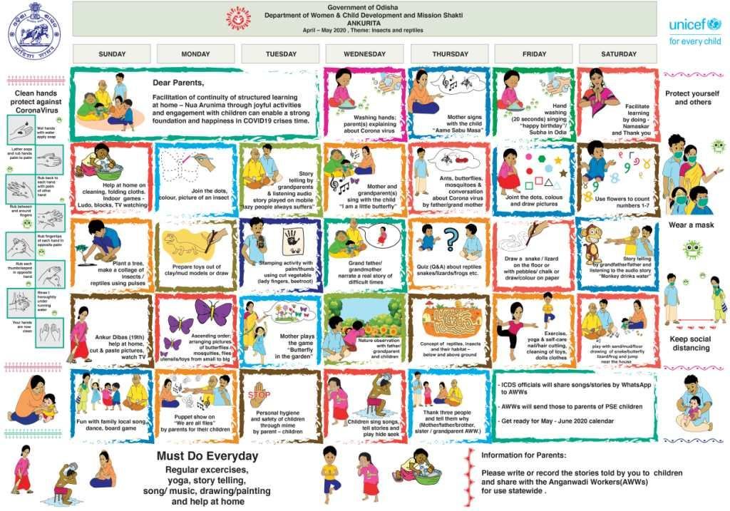 Govt of Odisha and UNICEF launch calendar of activities for continued learning of Children at home