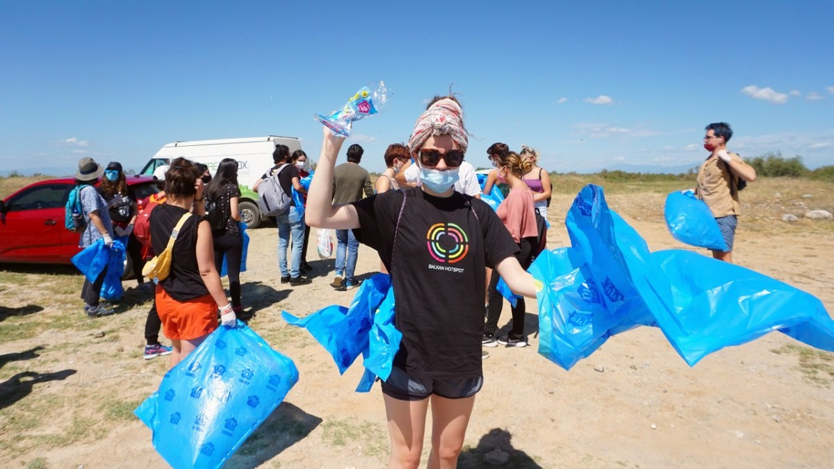 Volunteers participate in clean up activity at the Axios Delta National Park