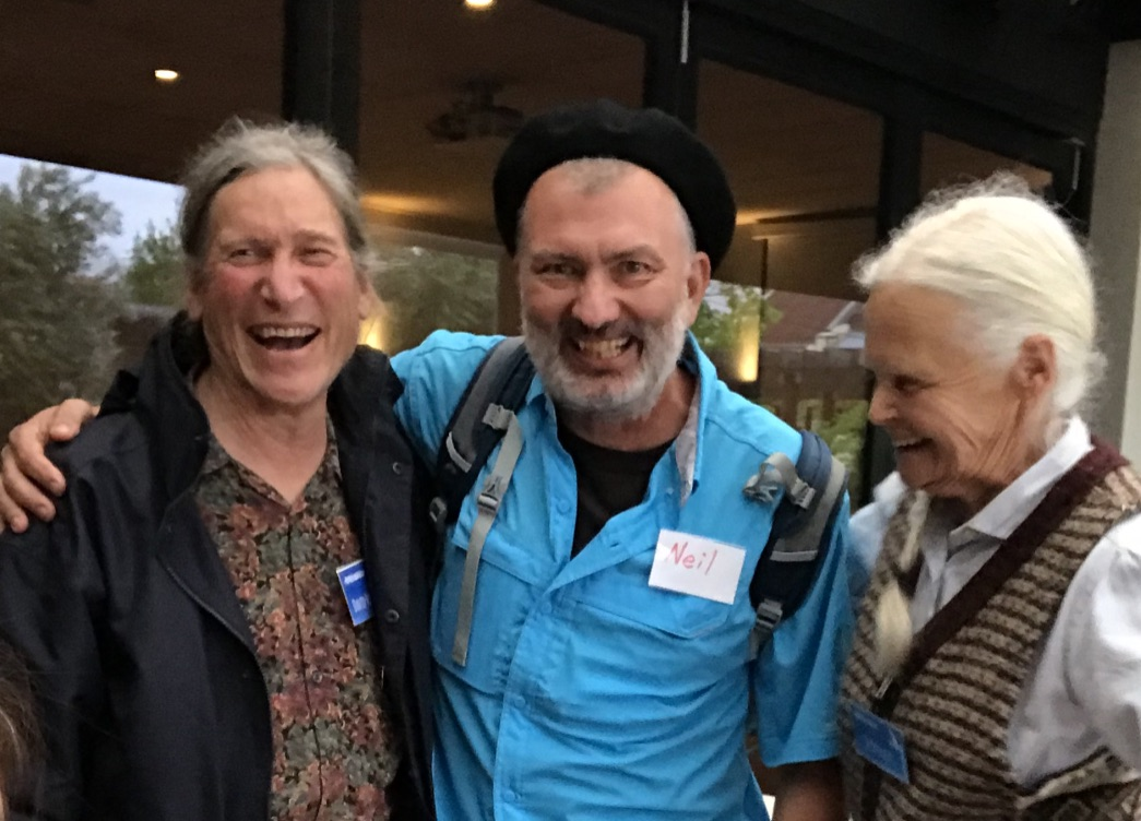David Holmgren, Neil Willmann (center) and Su Dennett (David's partner) share a laugh at the RetroSuburbia book launch in Sydney.