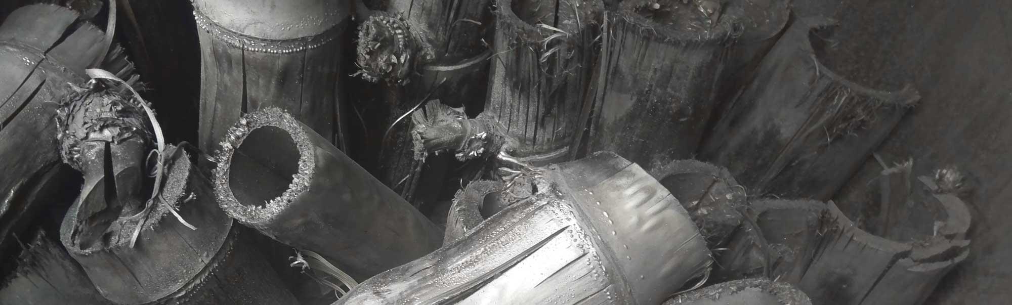 Bamboo charcoal production at Daruma