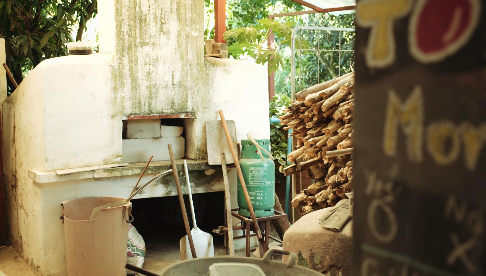 The wood fired water heater & oven at Daruma ecovillage