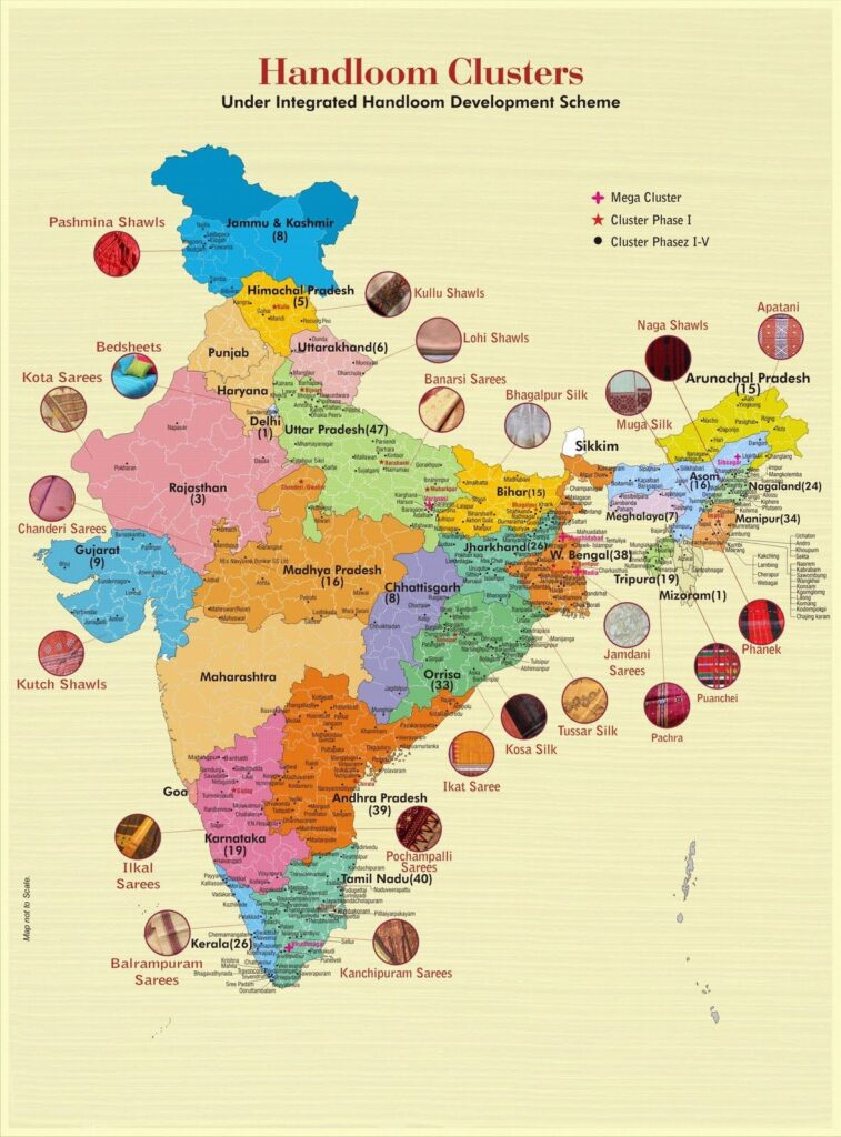 Map Showing Indian Handloom Map. Succeeding in India's Startup Death Valley