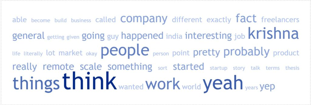 Word cloud for Episode 37: Raghu Bharat of CrewScale on The Future Of Work