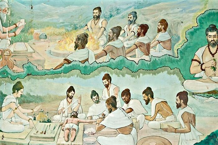 Image Showing Ancient Indians Treating Patients
