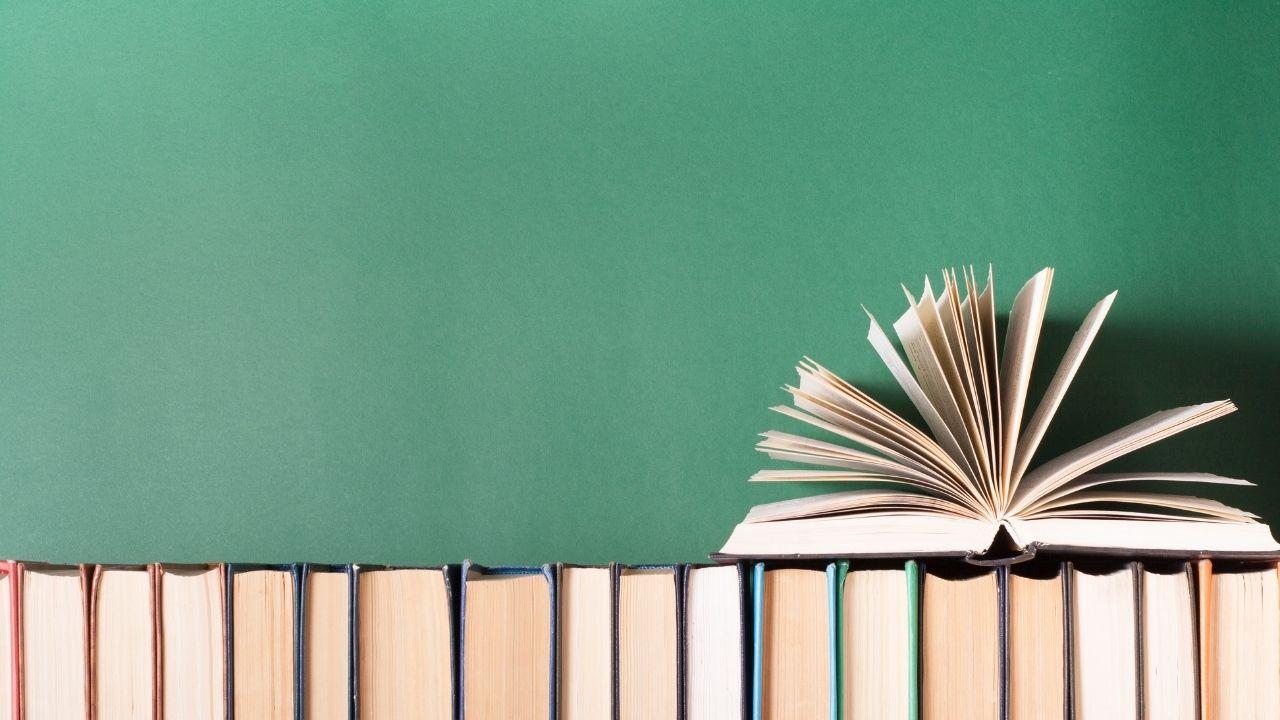 Book stack image indicating publishing